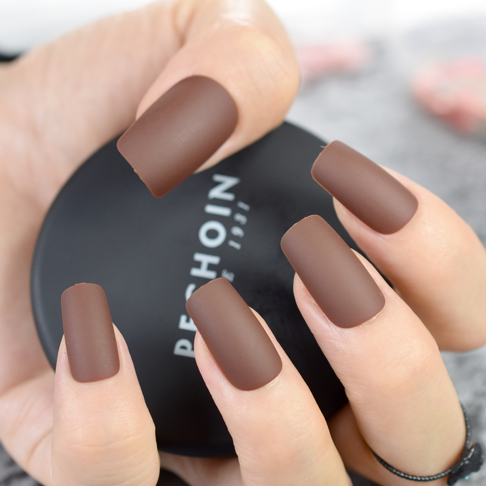 Matte Coffee Brown Square Head False Nails Middle long Full Cover ...
