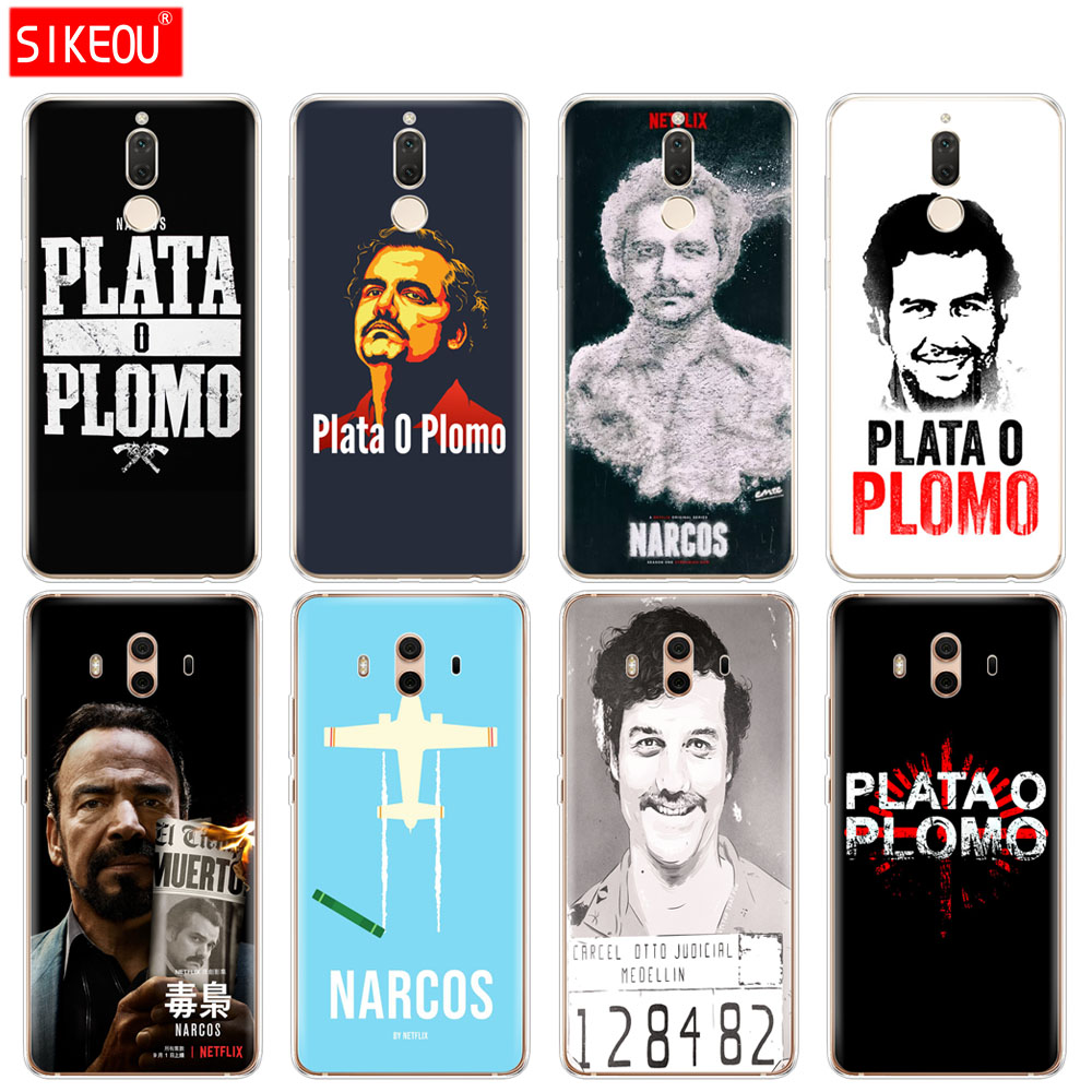 Silicone Cover phone Case for Huawei mate 7 8 9 10 pro LITE Plata O Plomo Narcos Pablo