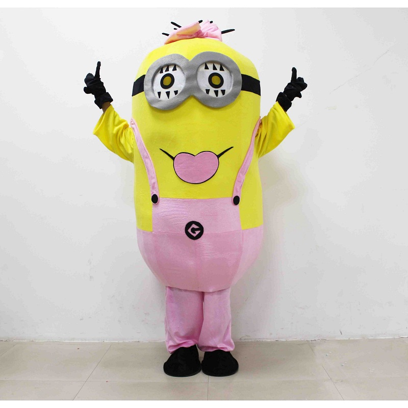 3D Despicable Me Mascot Plush Toys Pink Minion Mascot Juguetes EPE material Girl Love Minion Cartoon