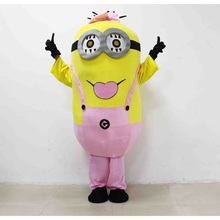 3D Despicable Me Mascot Plush Toys Pink Minion Mascot Juguetes EPE material Girl Love Minion Cartoon Imitation clothing cosplay