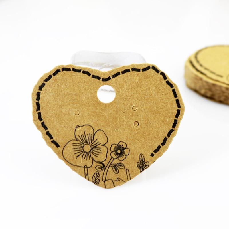 Hot Sale 100pcs Earring Cards Brown Heart Shape Jewelry Cards Kraft