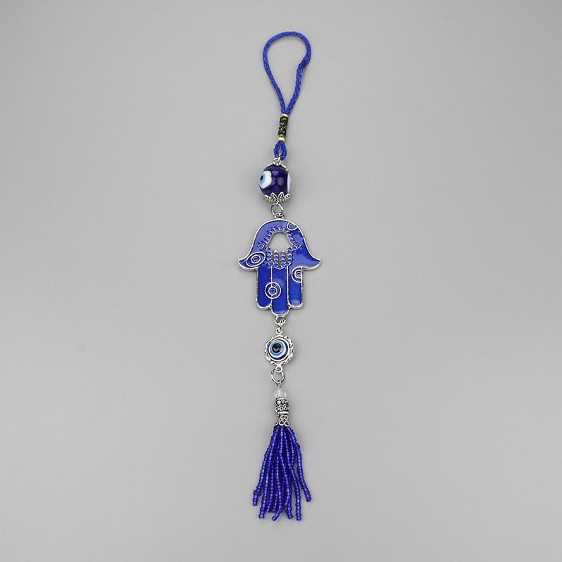 Şanslı Göz Cam Boncuk Anahtarlık Püskül Kolye Anahtarlıklar - Kostüm mücevherat - Fotoğraf 6