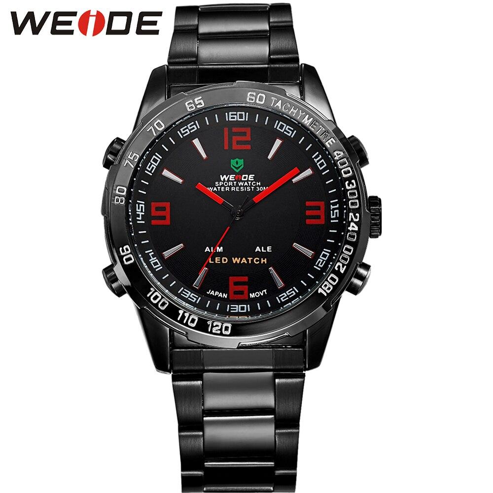 WEIDE Reloj Waterproof LED Sport Watch Quartz Sports Arm Military Auto Date Stainless Steel Black Steel Watch Gifts For Men