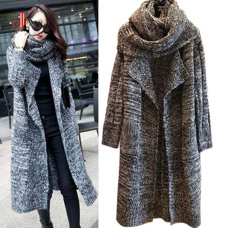 New 2016 Women Long Cardigans Autumn Winter Thicken Coat Casual Knitted Oversized Sweaters Warm Outwear Scarf