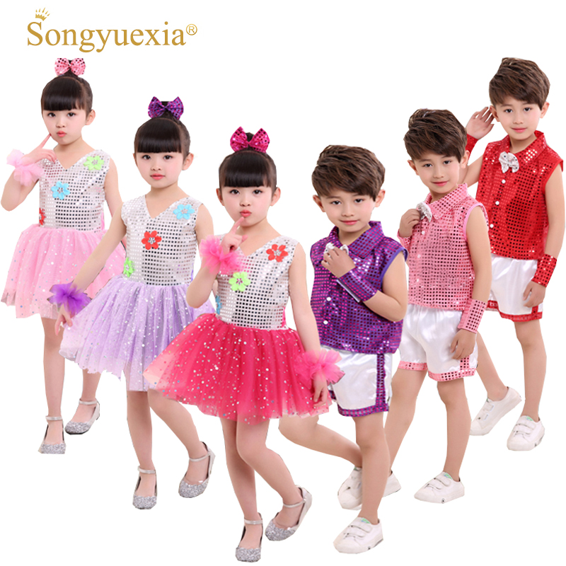 2017 Children's Paillette Performance Dress Latin Dancewear with Sequins Modern dancewear Many Styles for girl/boys 90-140cm