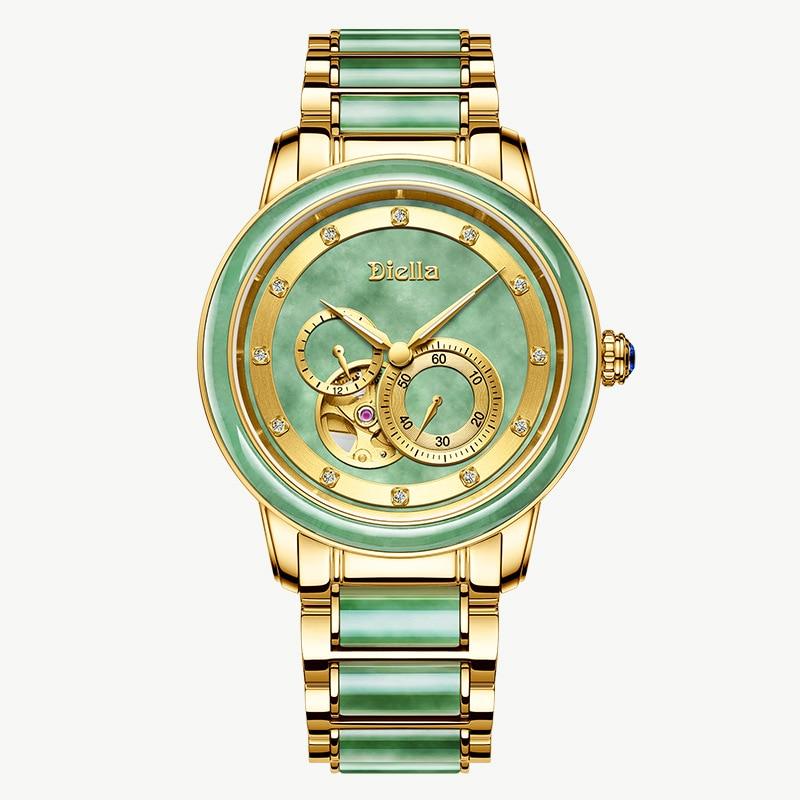 Men's Mechanical Watch Men's Luxury Fashion Brand  Automatic Hollow Jade Jade Gold Watch Waterproof Luminous Steel Belt Watch