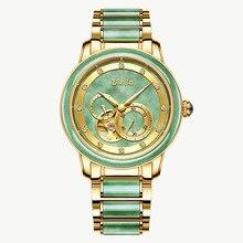 лучшая цена Men's Mechanical Watch Men's Luxury Fashion Brand  Automatic Hollow Jade Jade Gold Watch Waterproof Luminous Steel Belt Watch