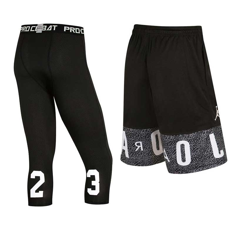 Men Sport GYM Fitness Sets Quick Dry Cropped Pants Running Tights + Basketball Shorts Workout Exercise Capri Leggings + Shorts