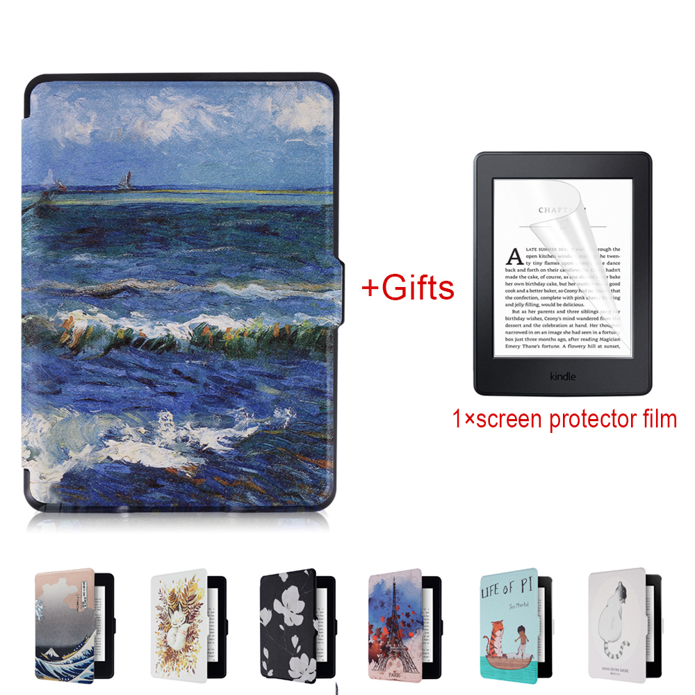 Smart Kindle Paperwhite Case PU Leather Smart Cover Fit For Amazon Kindle Paperwhite1 2 3 [Auto Wake Up/Sleep Function] +Film luxury pu leather protective cover shell bag for amazon kindle oasis 6ereader sleeve tablet case w wake up sleep function