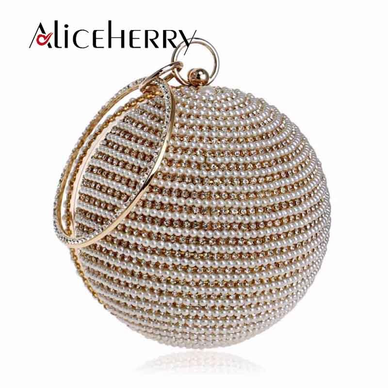 Luxe diamant perle soirée pochette chaîne sac rond forme femmes sac à main de mariage sac à main pour les filles de mariage fête maquillage sac