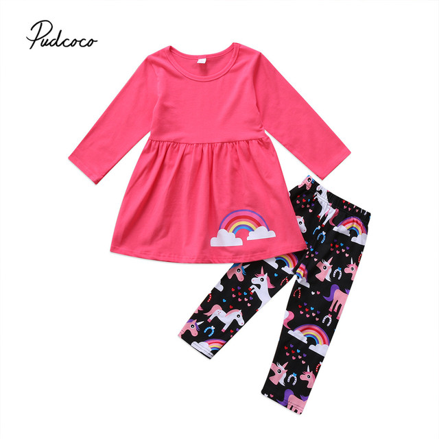 343f47f2ab86 2PCS Toddler Kids Baby Girl Unicorn Horse Rainbow Outfit Clothes Long Sleeve  T Shirt Tops Shorts+Long Pants