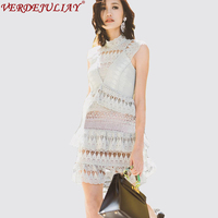 Sexy Dresses Fashion 2018 Spring Hollow Out Lace Floral Embroidery Sleeveless Perspective High Quality Mini Mint Top Green Dress