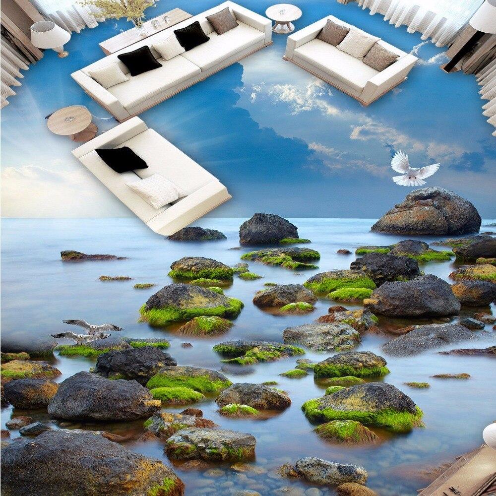 Free Shipping stone beach sea sky 3D floor wallpaper kitchen office living room PVC wear floor wallpaper mural