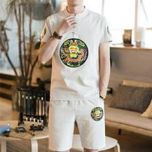 Loldeal Mens Summer Short Sleeve Shorts Set Large Size Linen Chinese, Printed Suit Loose Fashion