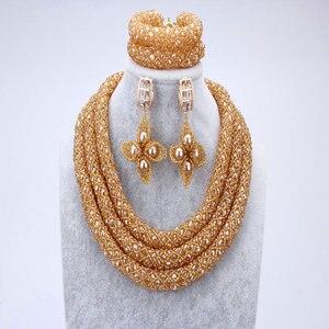 Image 5 - Женский комплект ювелирных изделий Dudo, набор свадебных украшений серебристого и синего цвета с африканскими бусинами, ожерелье в нигерийском стиле, 2017