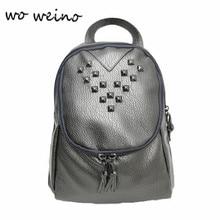 Woweino 2016 Fashionable School Bags Teenage Leisure Travel Leather Rivet Backpack Girl Japan Harajuku Female Rucksack Bag