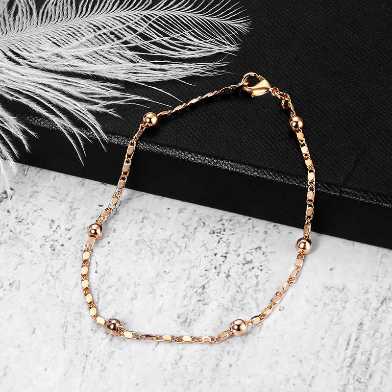 2mm Thin Marina Link Chain 585 Rose Gold Bracelet for Women Girls Woman Bracelet Wholesale Jewelry Valentines Gifts 20cm CB11