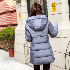 Image 4 - Stand Collar Hooded Women Winter Jacket Slim Cotton Padded Winter Womens Jackets Long Female Coats Parkas Chaqueta Mujer