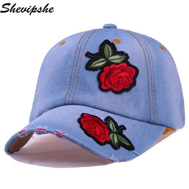 87a912ecc511c Shevipshe Nueva Gorra de Béisbol de Mezclilla Flor del Bordado de Las  Mujeres Rose Mujeres Snapback