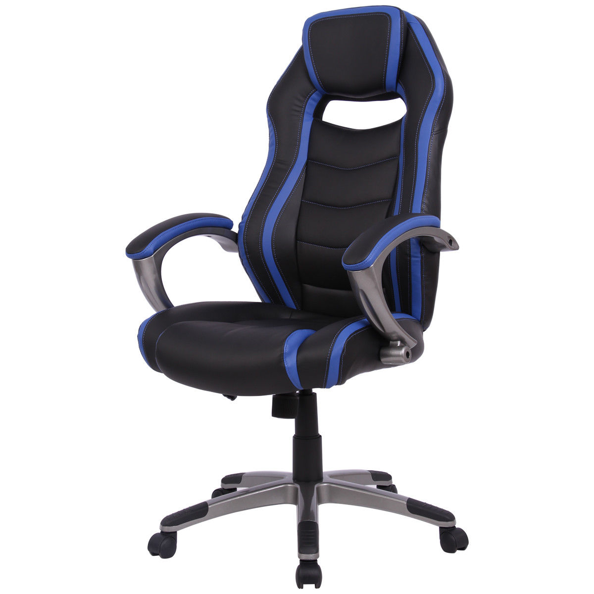 Giantex Racing Car Style High Back Gaming Chair Modern Bucket Seat Computer Desk Office Chair Swivel Office Furniture HW56143BL 240340 high quality back pillow office chair 3d handrail function computer household ergonomic chair 360 degree rotating seat
