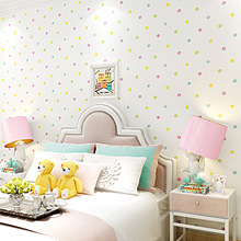 10m Warm and  colorful wallpaper for girls bedroom princess room cartoon girl non-woven colorful polka dot children wallpaper environmental protection non woven wallpaper children s room cartoon color lovely dot wall paper 3d boys and girls bedroom decor