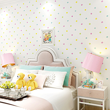 10m Warm and  colorful wallpaper for girls bedroom princess room cartoon girl non-woven colorful polka dot children wallpaper