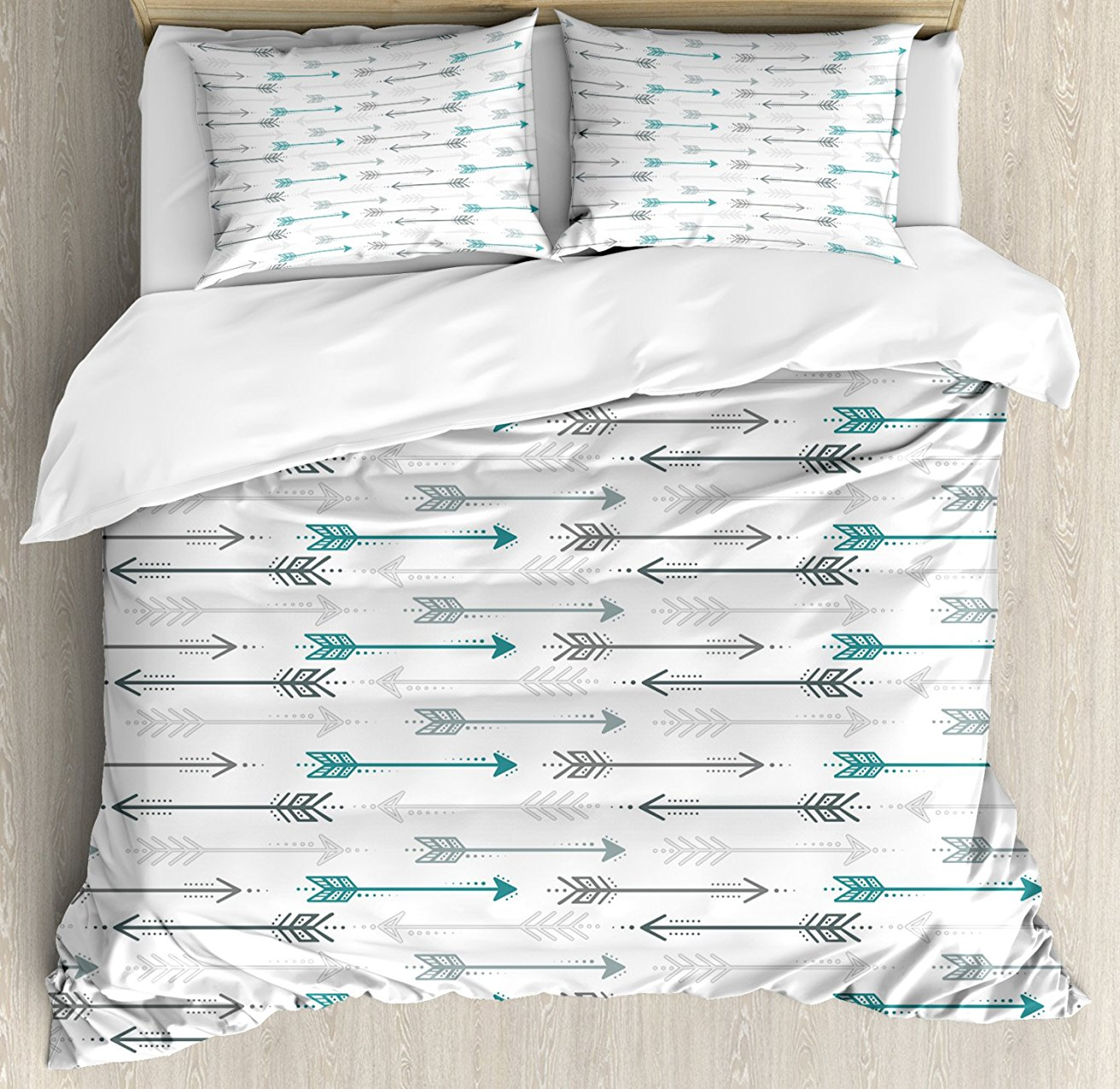 Teal Decor Duvet Cover Set Retro Arrow Pattern In Horizontal Line Heading To Opposite Directions Artwork 4 Piece Bedding Set