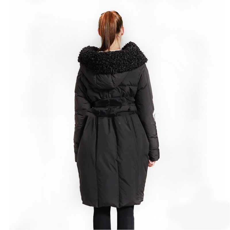 Новинка 2019, зимний длинный рукав, большой воротник с капюшоном, свободный, сохраняющий тепло, асимметричный Повседневный пуховик, женская мода