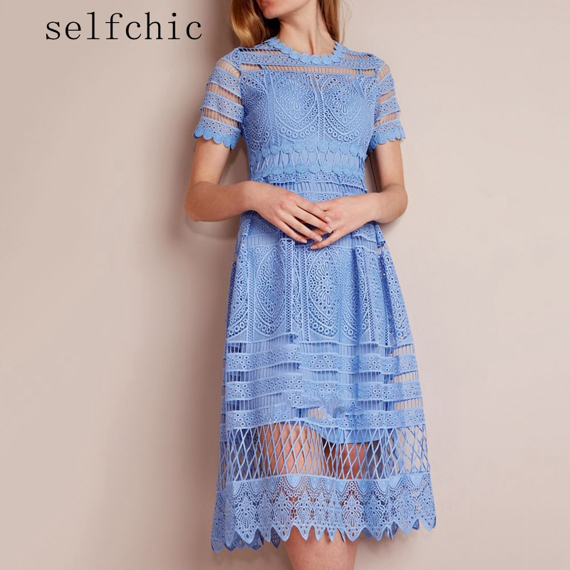 Women Lace Dress Designer 2018 Elegant Blue White Hollow Out Midi Dresses
