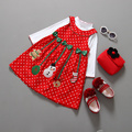 2015 Winter For Girls For Christmas New Year Clothes Kid Long Sleeve Christmas Man Dot Dress children's 2pcs Clothing Sets