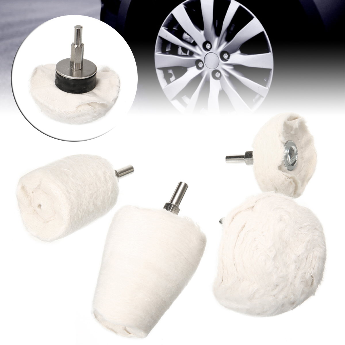 4pcs/set Durable Drill Polishing Cloth Wheel Kit White Buffer Pad Attachment Multi Shape Buffing Tool