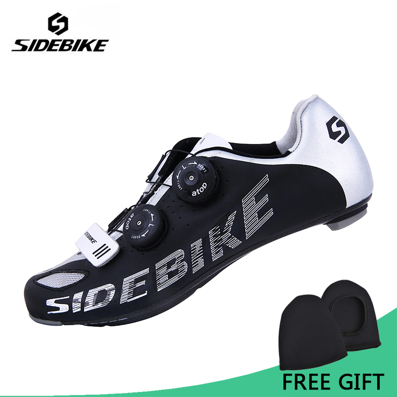 Sidebike Men Carbon Fiber Road Cycling Bike Shoes Breathable Bicycle Shoes Ultralight Self Locking Zapatillas Zapato Ciclismo west biking bike chain wheel 39 53t bicycle crank 170 175mm fit speed 9 mtb road bike cycling bicycle crank