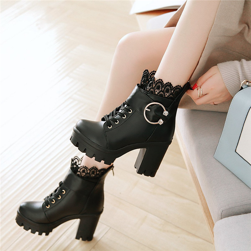 YMECHIC White Black Lace Reffles College Lolita Block High Heels Buckle Strap Womens Gothic Shoes Ankle