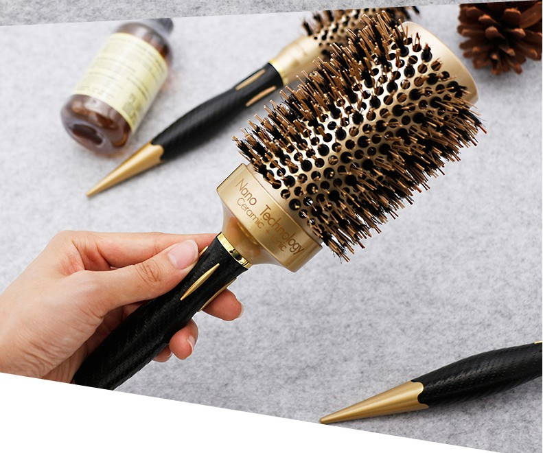 Image 4 - 5 size Ceramic Iron Hair Brush Anti static High Temperature Resistant Round Barrel Comb Hairstyling Drying Curling Tool-in Combs from Beauty & Health