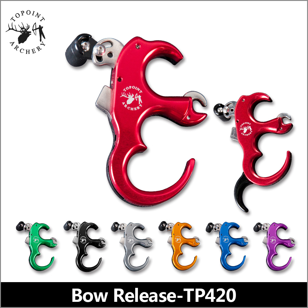 Topoint Archery TP420 3 or 4 Finger can be change Aluminum Release Aid Automatic Archery Caliper Release for target compound bow allen company exacta xx archery buckle release
