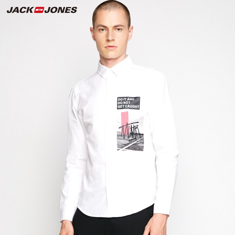 MLMR Autumn Men's Cotton Lapel Abstract Letter Printed Long Sleeved Slim Fit Shirt JackJones 2019 New Brand Menswear 218305536
