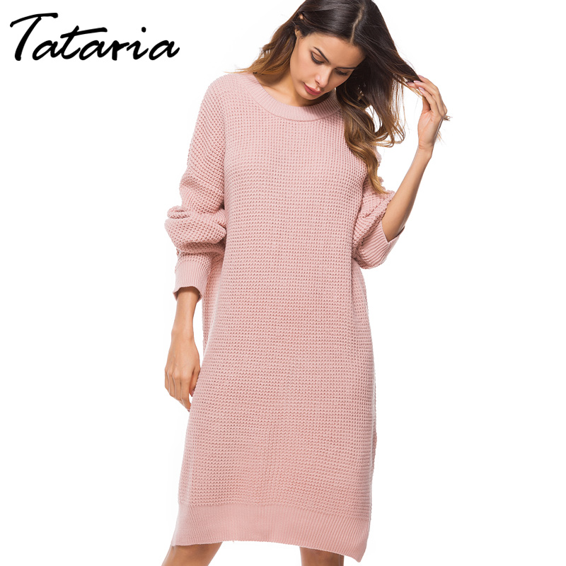 Long Knitted Sweater Dress Women Knitwear O-Neck Loose Long Sleeve Loose Dress Elegant Split Womens Pullover Sweaters Female
