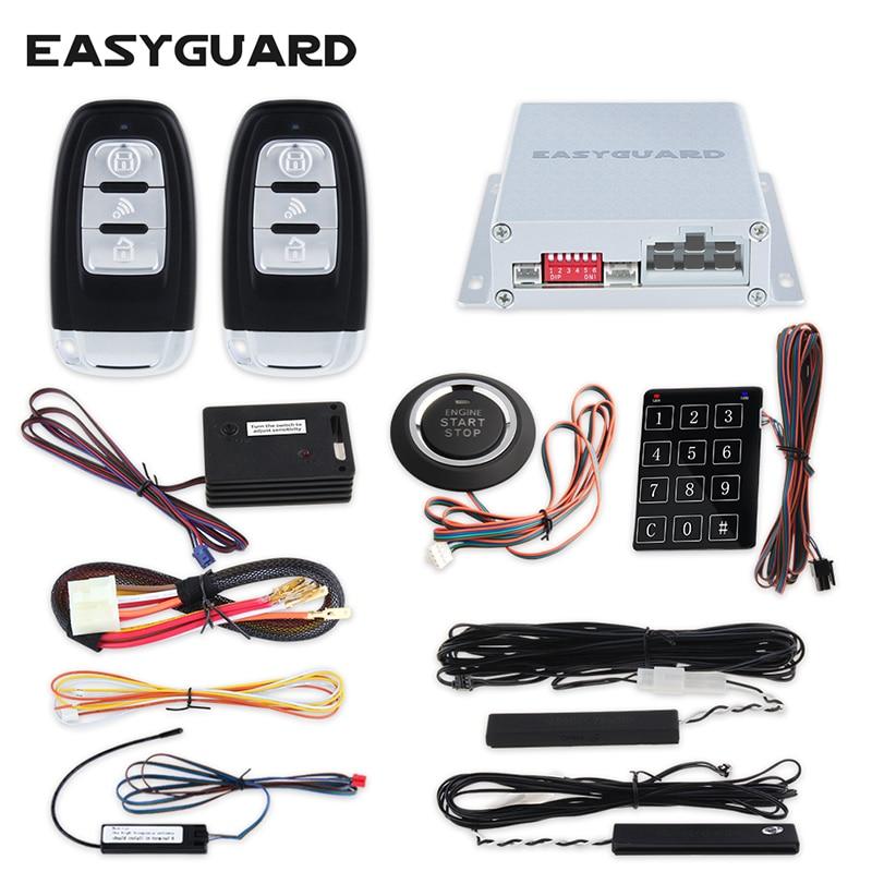 EASYGUARD компания Универсальный PKE аварийная система автоматического запуска Смарт нажмите запуск двигателя и сенсорный ввод пароля прыжково...