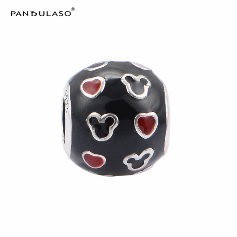Beads Gentle Pandulaso Red Heart Miki Mouse Black Enamel Beads For Jewelry Making Fit Women Charms Silver 925 Original Bracelets Diy Jewelry