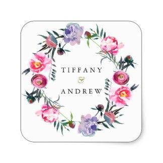 38cm Purple Pink Floral Wreath Wedding Name Sticker In Stickers