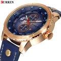 50pcs/lot,2016 CURREN Men's Watches Top Brand Luxury Waterproof Genuine Leather Band Waches Male Quartz Wristwatch