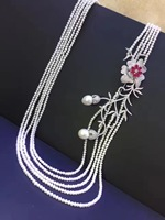 3 4MM small long fresh water pearl necklace 925 sterling silver flower necklace fine women jewelry multi layers wedding necklace