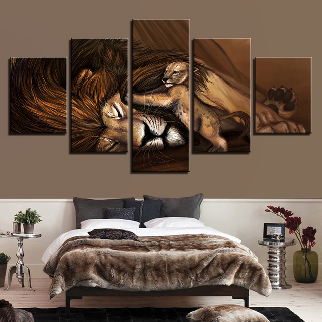 Canvas Wall Art Picture Frame Kitchen Restaurant Decor 5 Pieces Animal Lion  Cubs Sleeping Living Room HD Printed Poster Painting