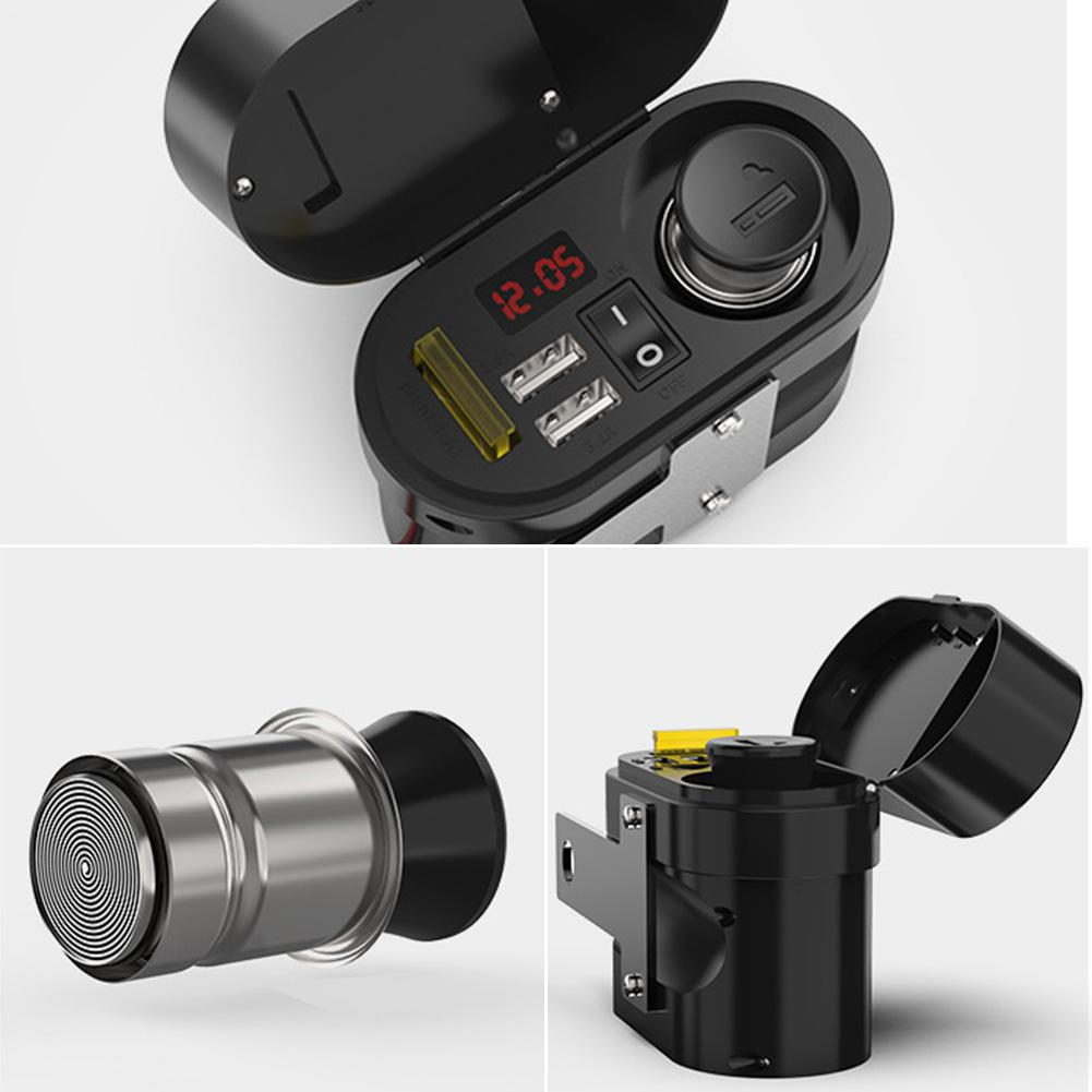 Image 2 - Motorcycle Waterproof Charger Power Socket 5V 3.1A Dual USB Outlet Switch Car LED Digital Display Voltmeter Cigarette Lighter-in Cigarette Lighter from Automobiles & Motorcycles