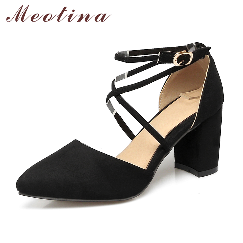 Meotina Women Shoes Pumps Gladiator Shoes Ankle Strap High Heels Cross-tied Thick Heel Pointed Toe Two Piece Footwear Size 34-43 цены