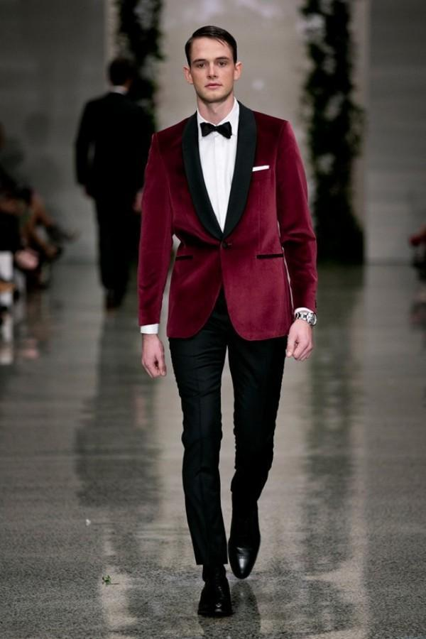 A button red velvet dress shawl lapel the groom, holds the groomsman wedding dinner party suit (jacket + pants)