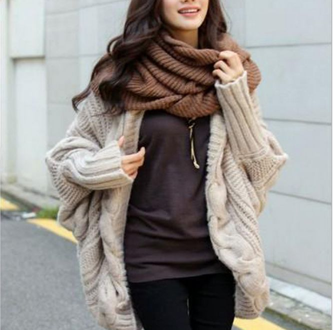 Spring Autumn 5Colors Coarse Wool Cardigans Women Brand Fashion Full Batwing Sleeve Sweaters Casual Women Clothing