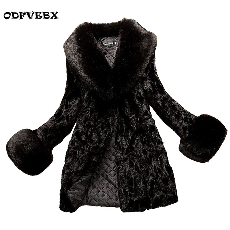 High quality imitation rabbit hair Ms. fur coats medium long plus size was thin 2018 new fox fur coats womens clothing ODFVEBX
