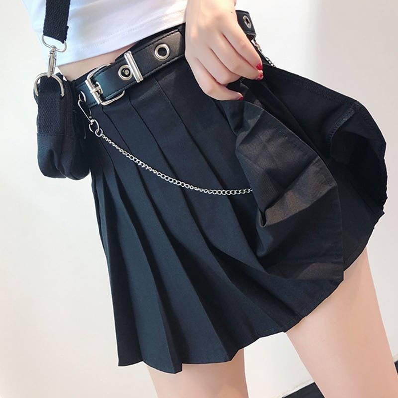 New Summer Skirts Women 2019 Harajuku Belt Pleated Skirts Loose High Waist Sexy Fashion Chain Black Skirts Female #3325