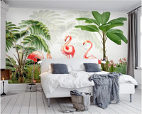 Beibehang Fashion Fresh Wallpaper Flamingo Plant Hand Painted Modern Classic Minimalist TV Backdrop Papel De Parede